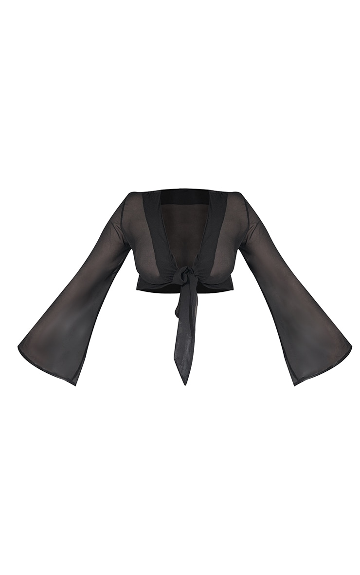 Plus Black Tie Front Cropped Sheer Blouse 5