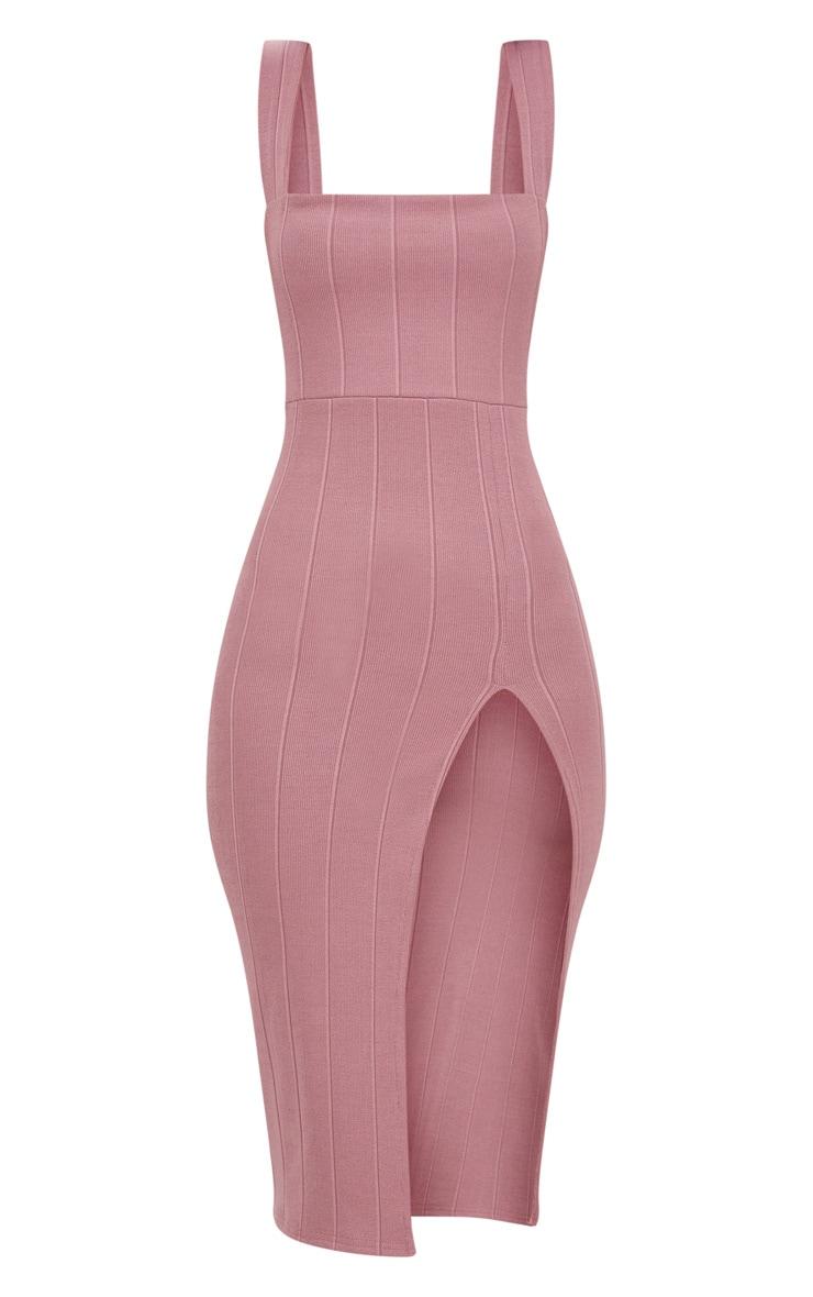 Dark Mauve Bandage Square Neck Extreme Split Midi Dress 3