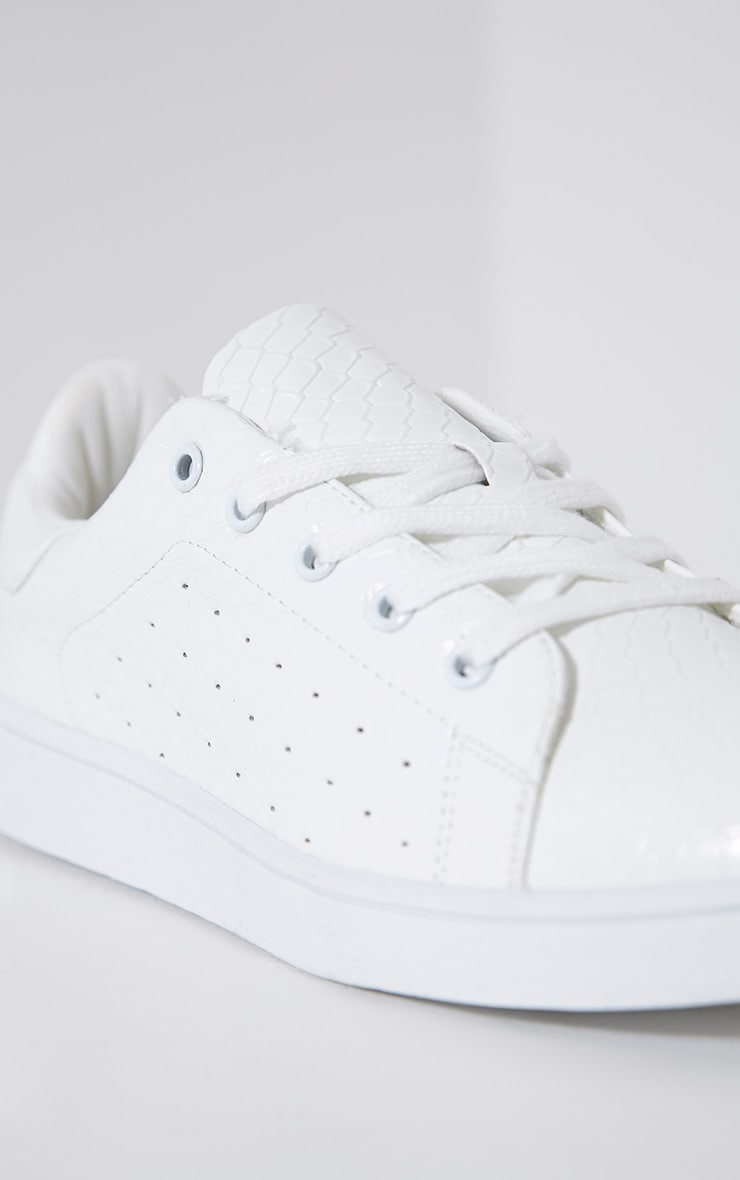 Zina White Lace Up Trainers 6