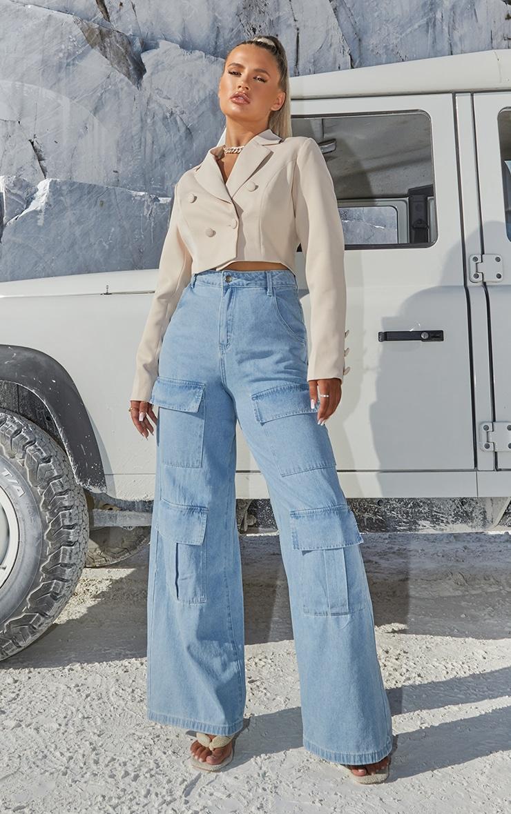 Light Blue Wash Straight Leg Denim Jeans 1
