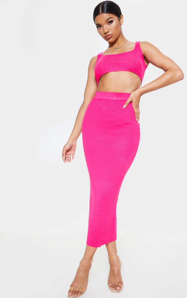 Pink Knitted Ribbed Co Ord  1