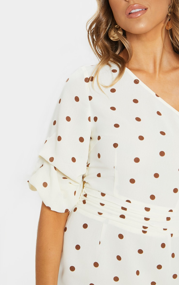 Nude Polka Dot One Shoulder Fishtail Midi Dress 5