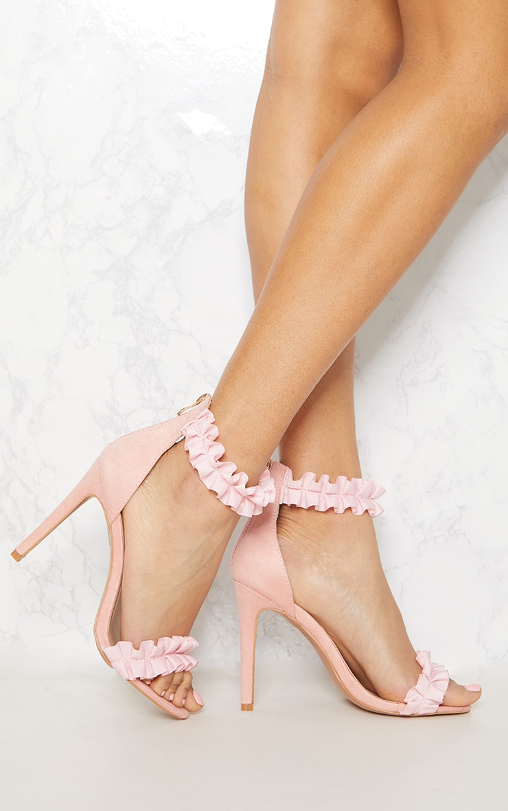 Blush Ruffle Strappy Heeled Sandal