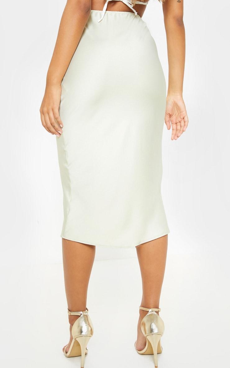 Sage Green Satin Midi Skirt 2