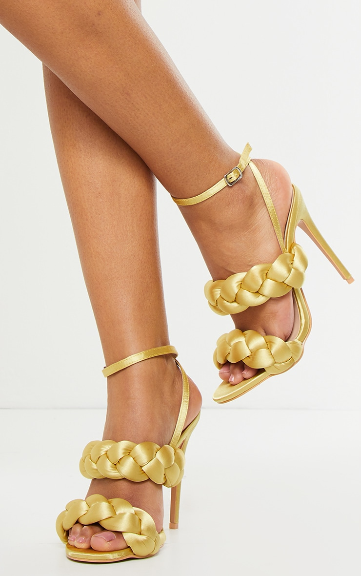 Gold Satin Chunky Plaited High Heels 2