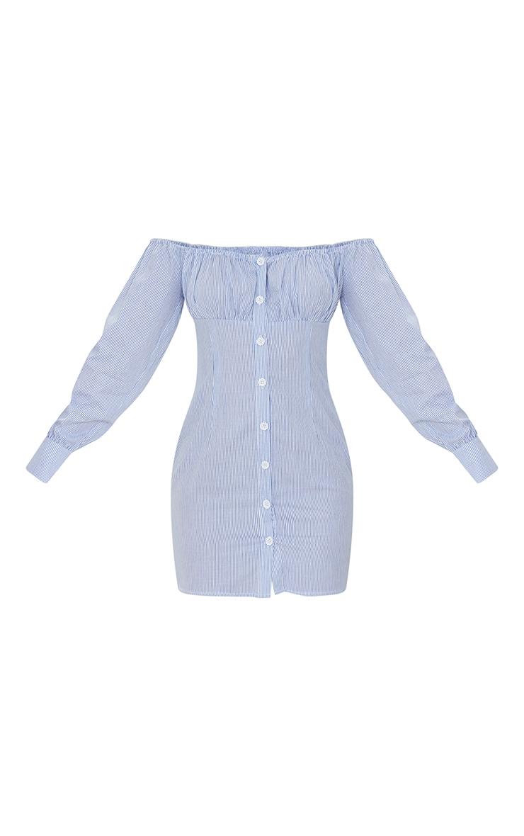 White Stripe Print Button Detail Bardot Bodycon Dress 5