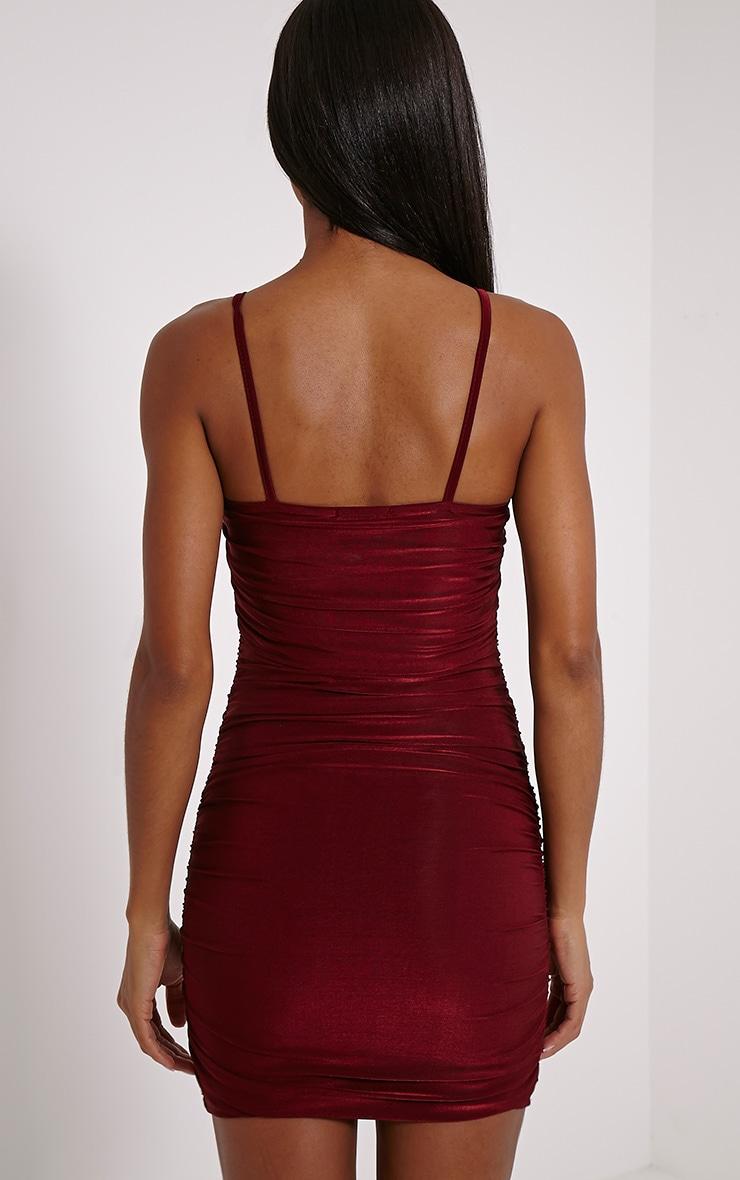 Palia Wine Slinky Tie Neck Mini Dress 2