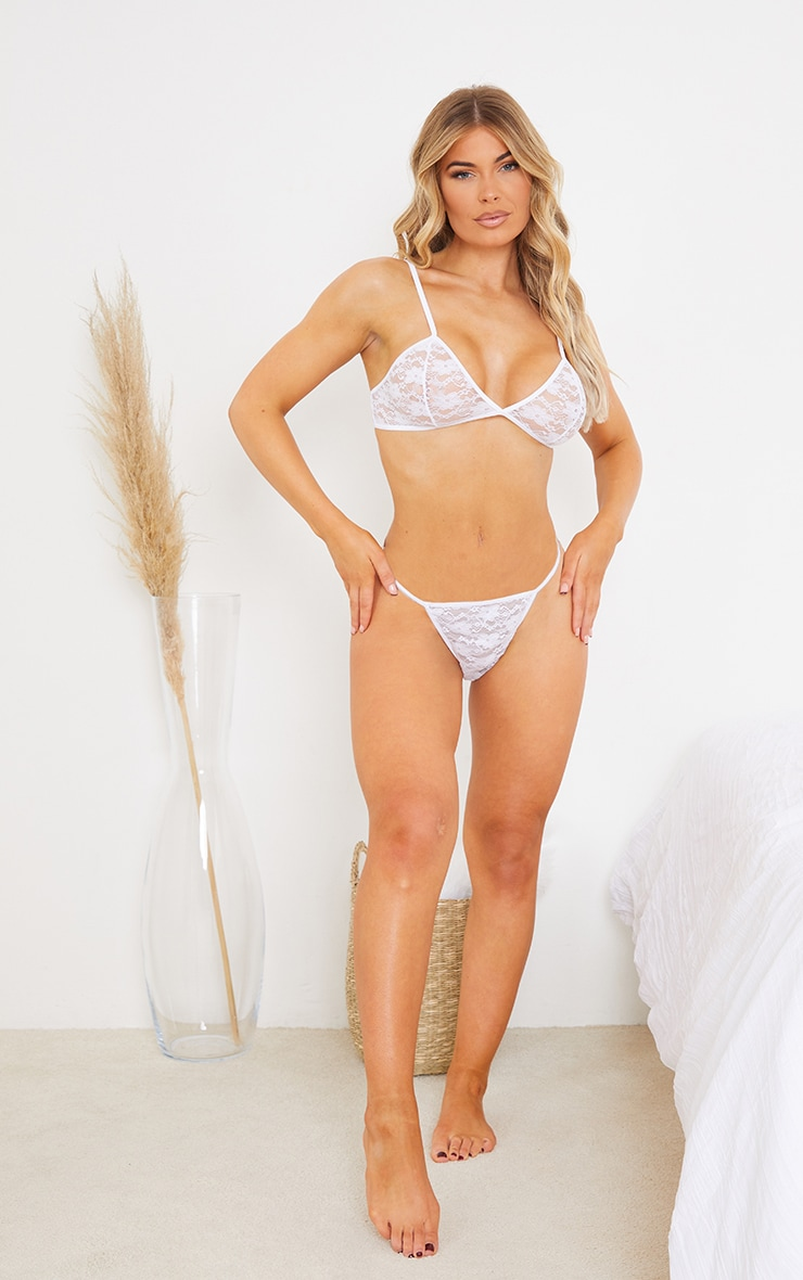 White Basic Lace Lingerie Set 3
