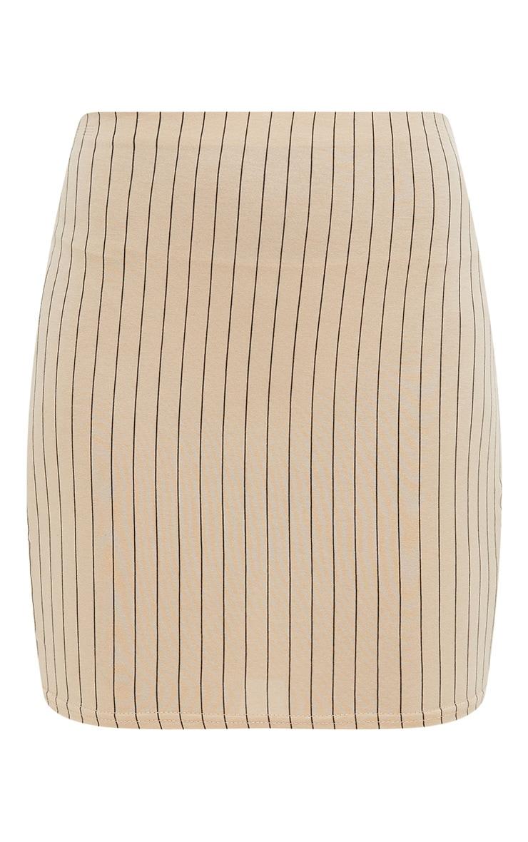 Stone Jersey Pinstripe Mini Skirt 3
