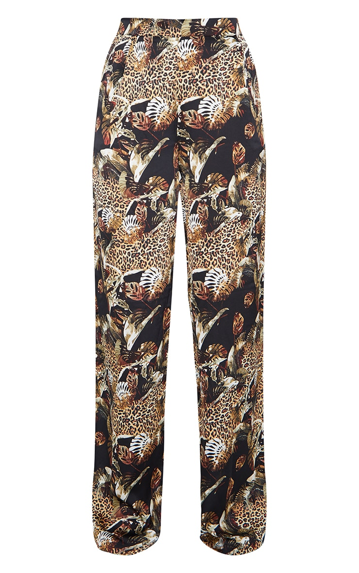 Multi Leopard Print Satin Wide Leg Pants 5
