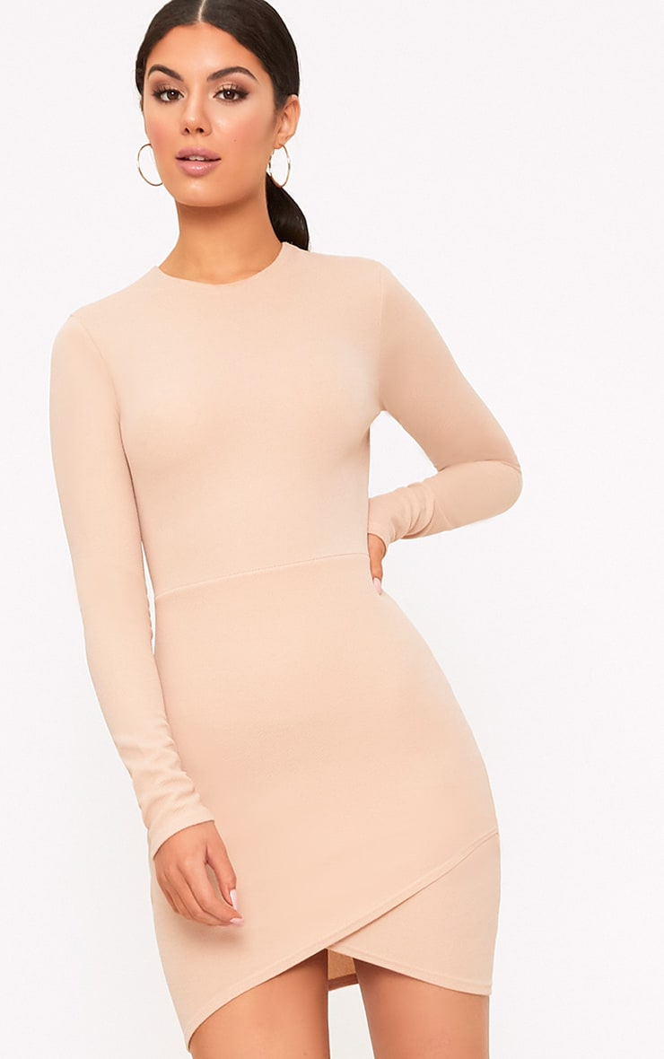 Idda Nude Long Sleeve Wrap Skirt Bodycon Dress 1