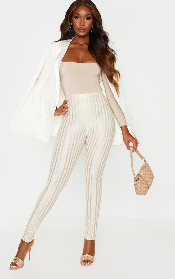 Stone Sheer Stripe Skinny Pants 1