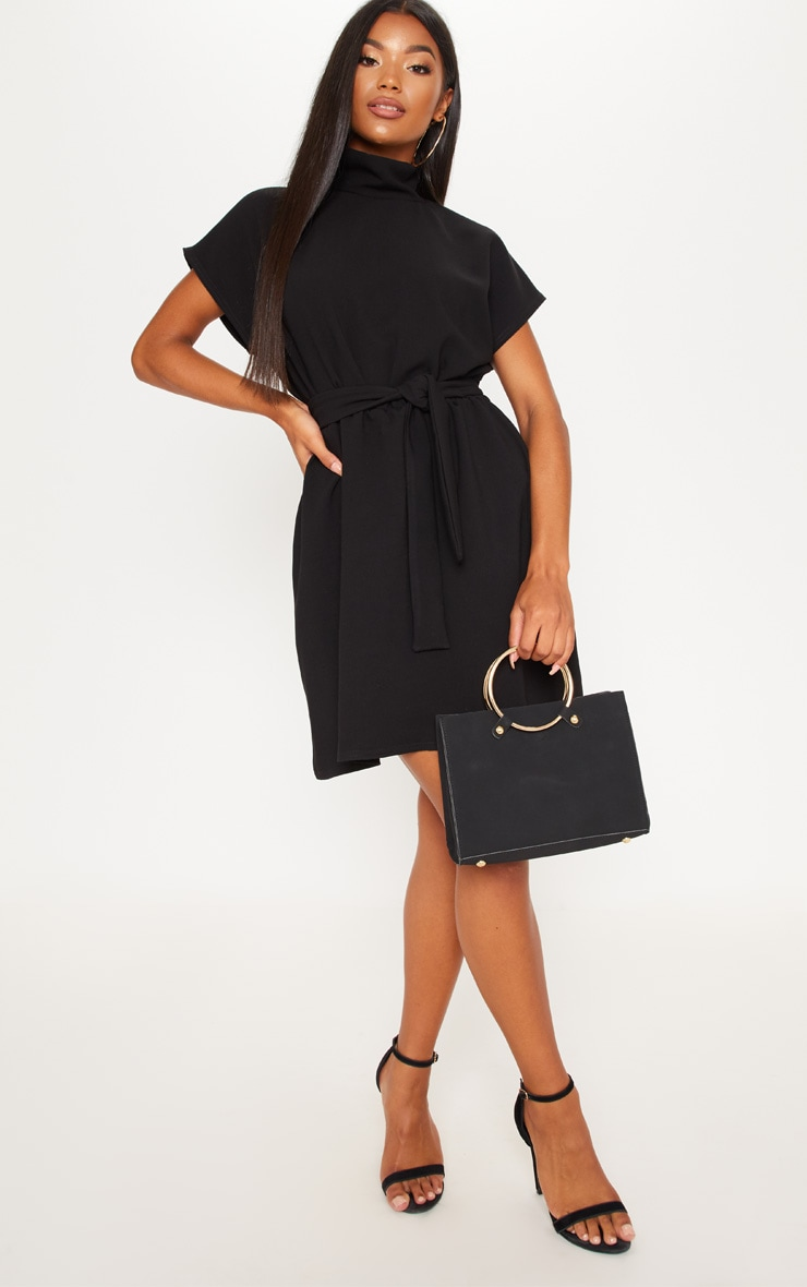 Black High Neck Belted Skater Dress 4