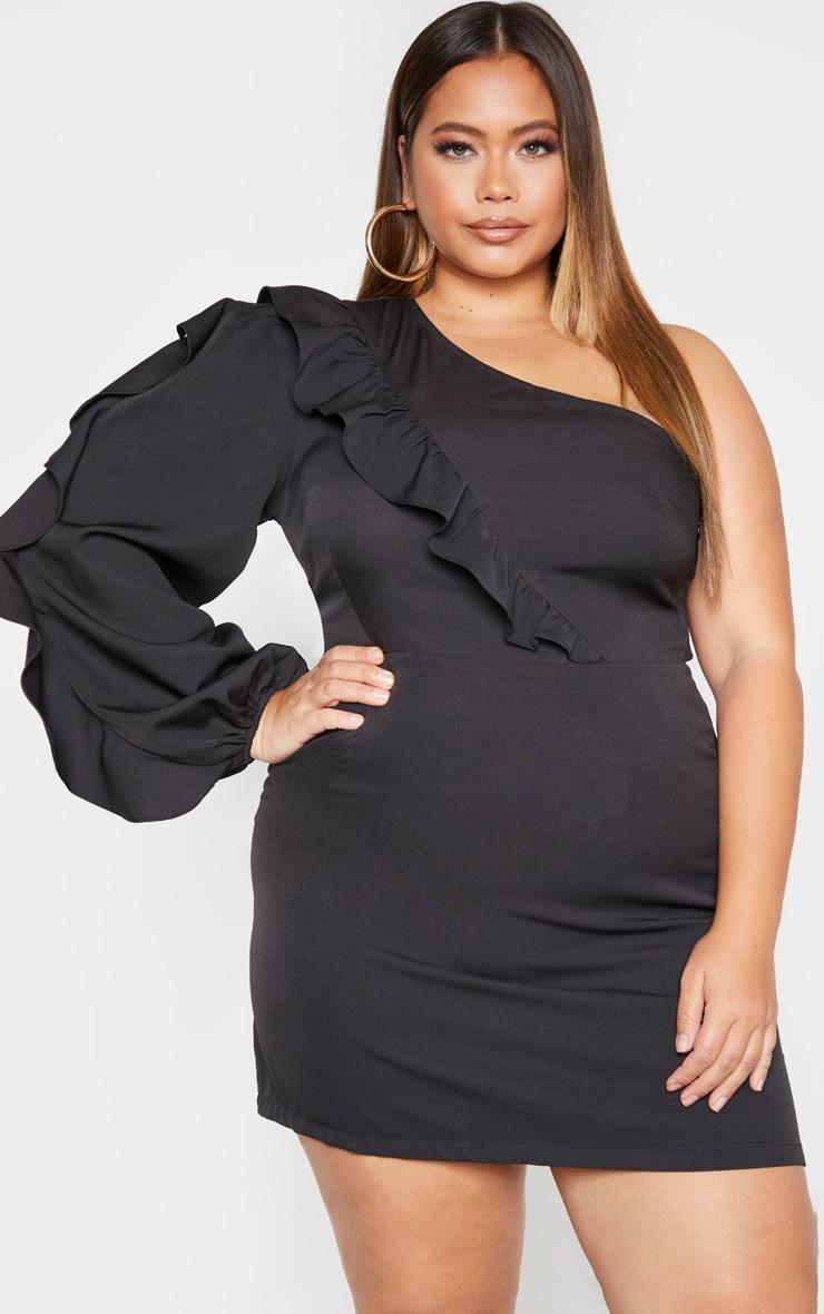 Plus Black Asymmetric Frill Detail Shift Dress 1