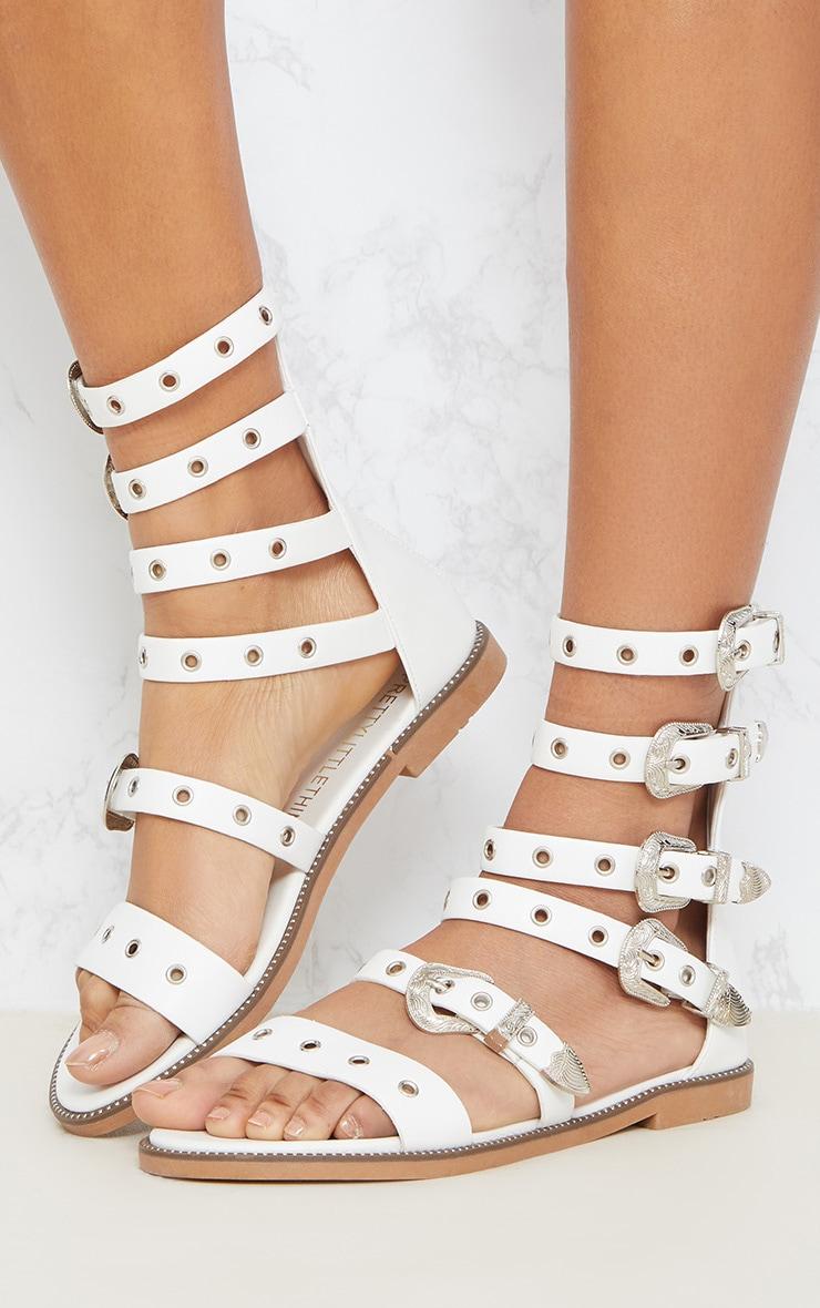 White Western Buckle Ankle Gladiator Sandal 2