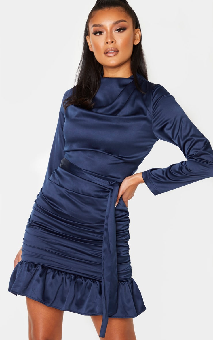 Navy Satin Ruched Skirt Frill Hem Bodycon Dress 1