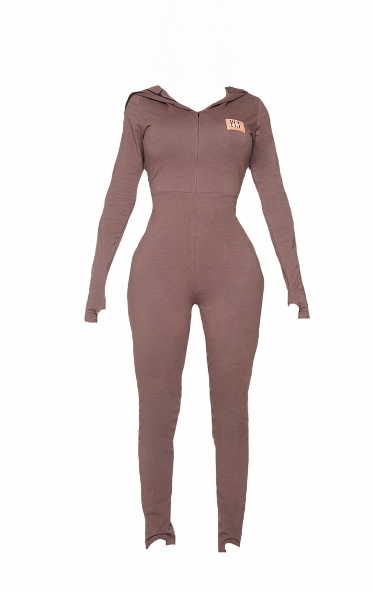 PRETTYLITTLETHING Shape Brown Hooded Jumpsuit 5