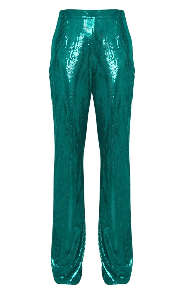 Tall Emerald Green Sequin Wide Leg Pants 3