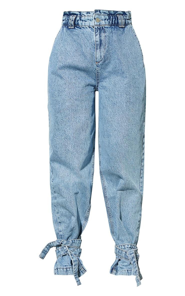 Bleach Wash Tie Hem Paperbag Jeans 5