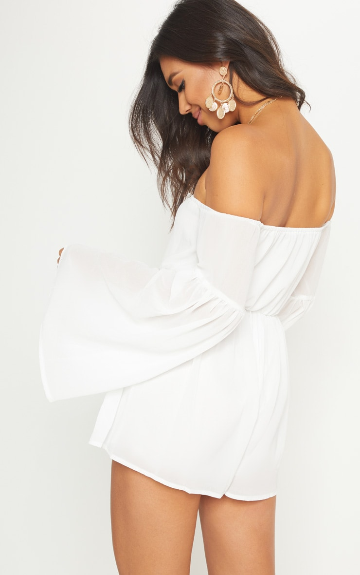 White Chiffon Flared Sleeve Playsuit 3