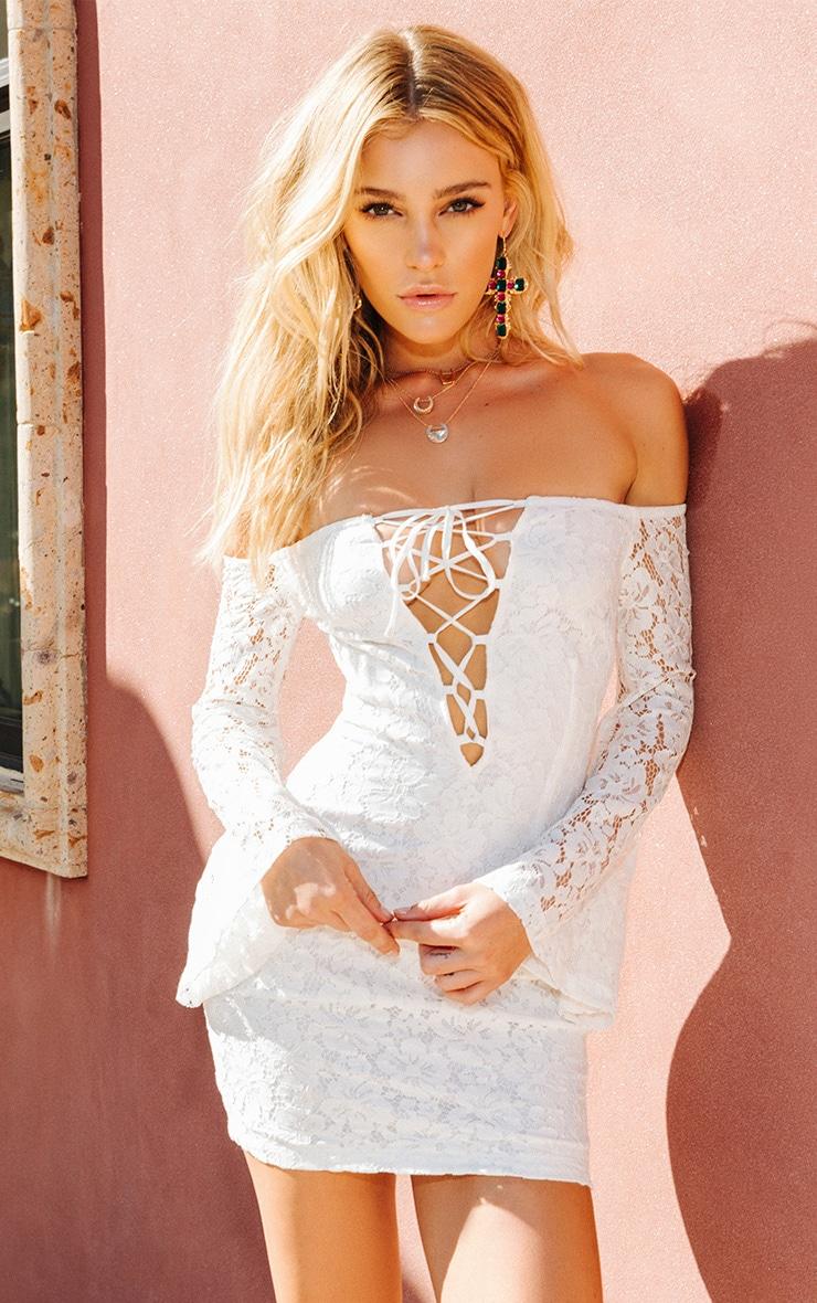 White Lace Bardot Flare Sleeve Bodycon Dress 1