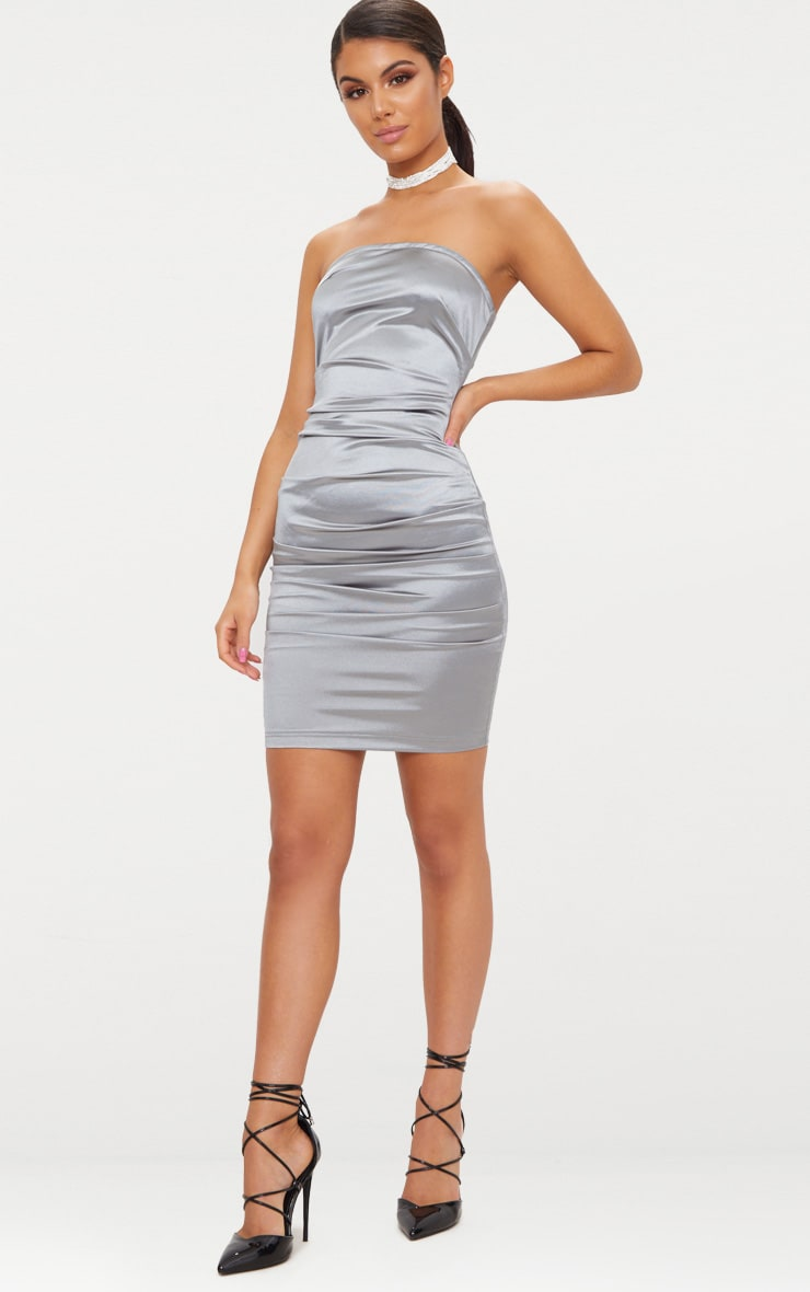 Ruched Satin Dress