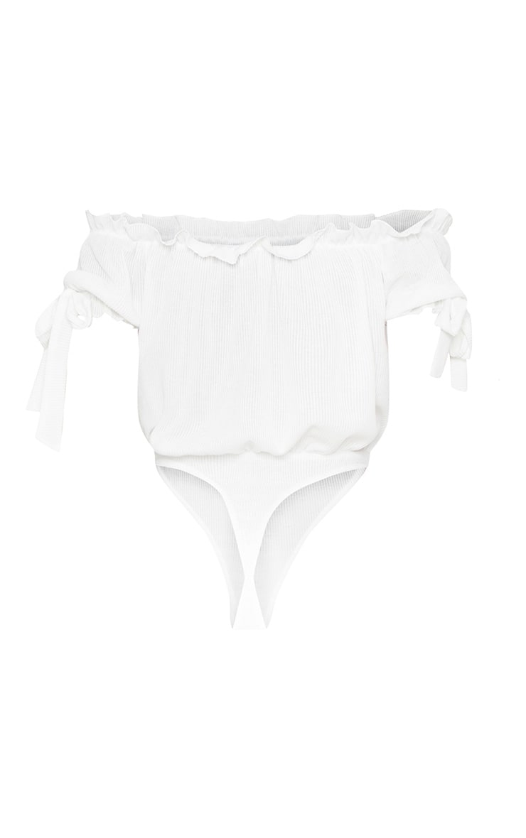 White Bardot Bow Sleeve Rib Thong Bodysuit  4