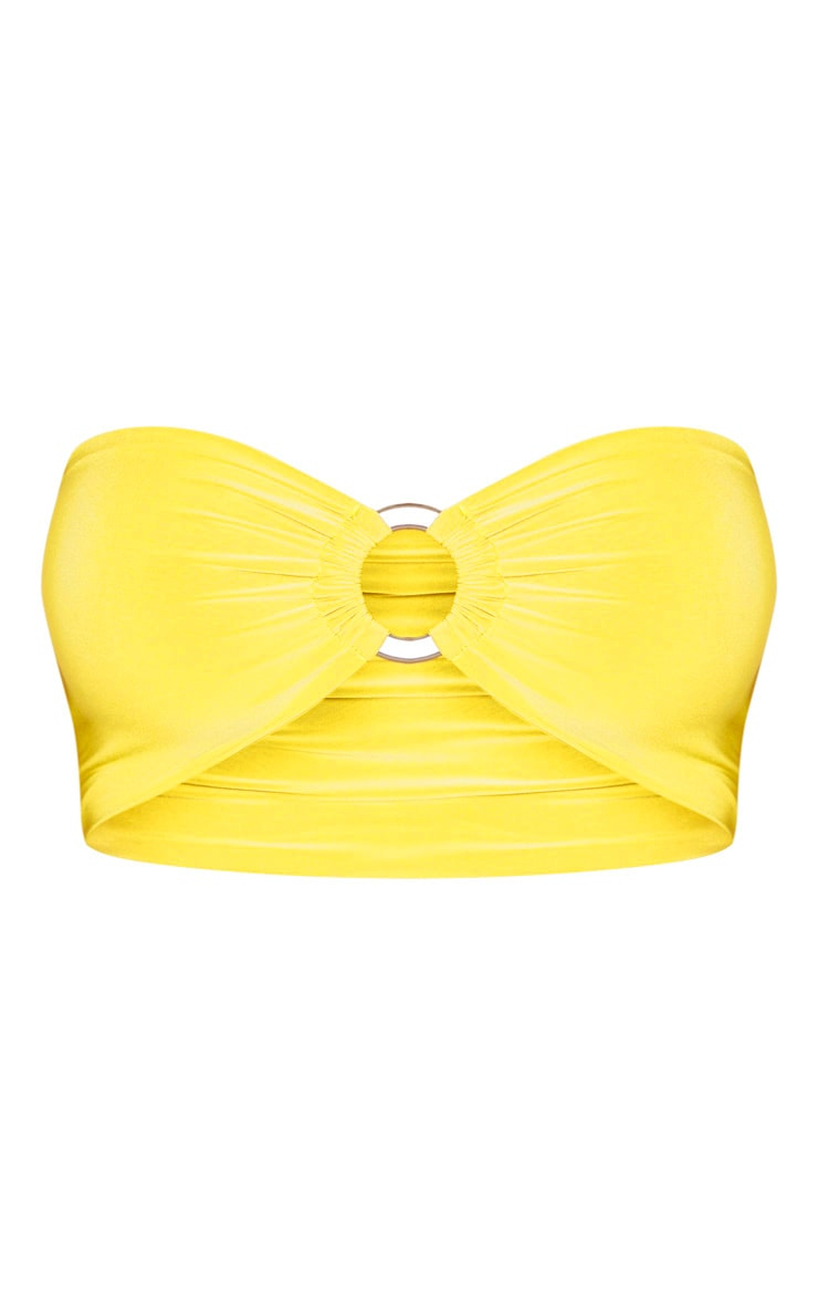 Shape Chartreuse Ruched Ring Detail Crop Top 3