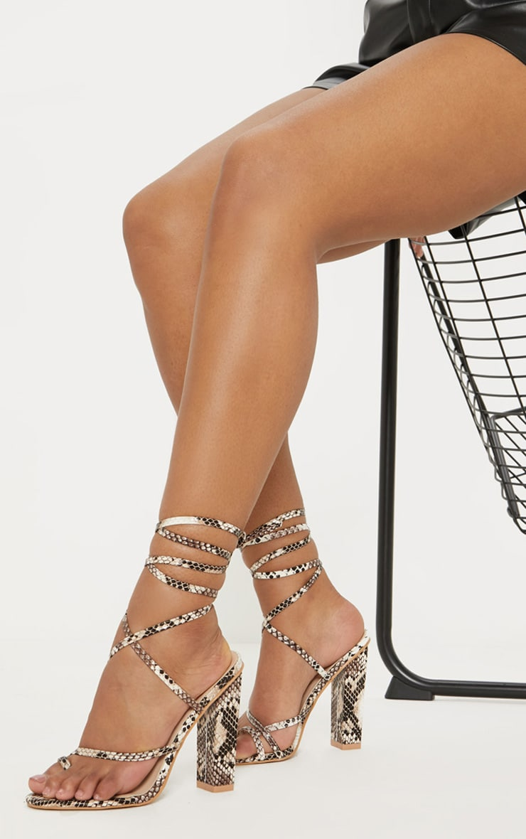 Snake Toe Loop Heeled Sandal 1
