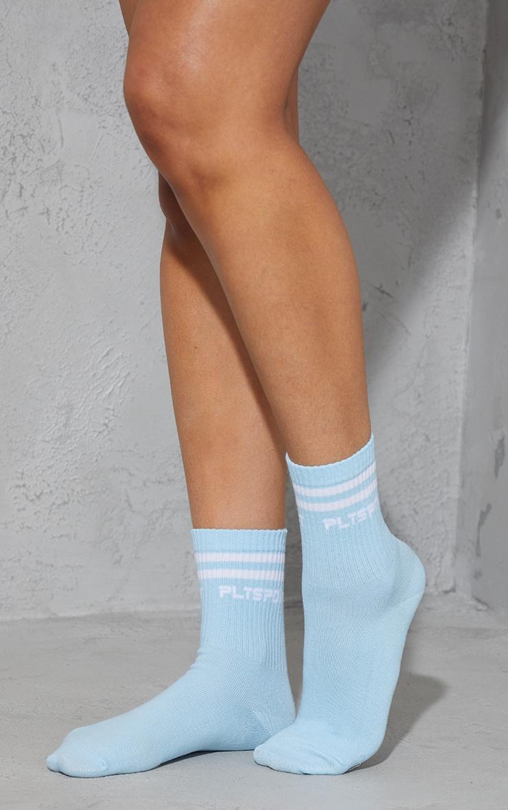 PRETTYLITTLETHING Baby Blue Sports Socks 1
