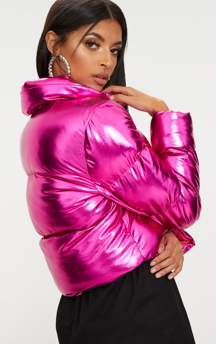 Hot Pink Metallic Cropped Puffer Jacket 2