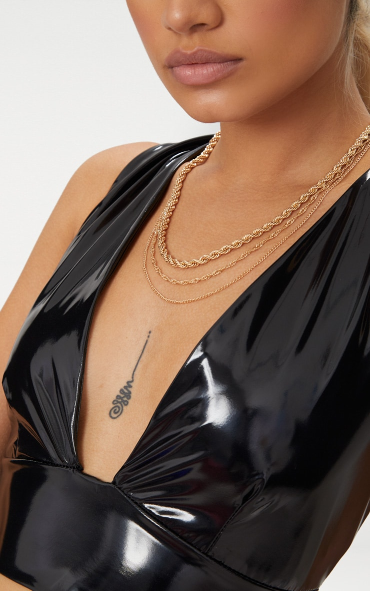 Gold Triple Layered Chunky Necklace 2