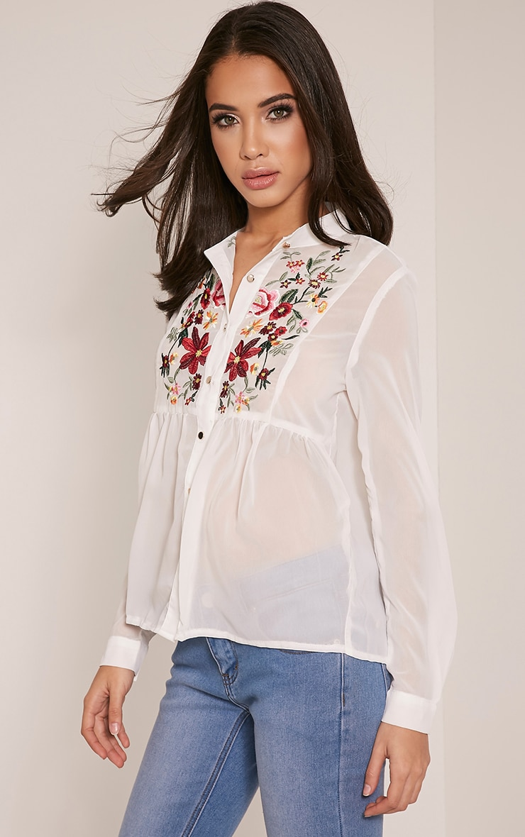 Liara White Embroidered Shirt 8