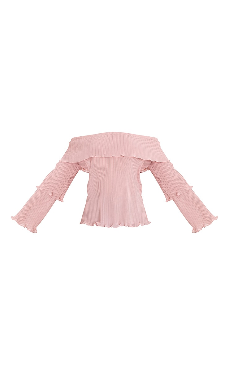 Carly Pink Pleated Bardot Frill Sleeve Blouse 3