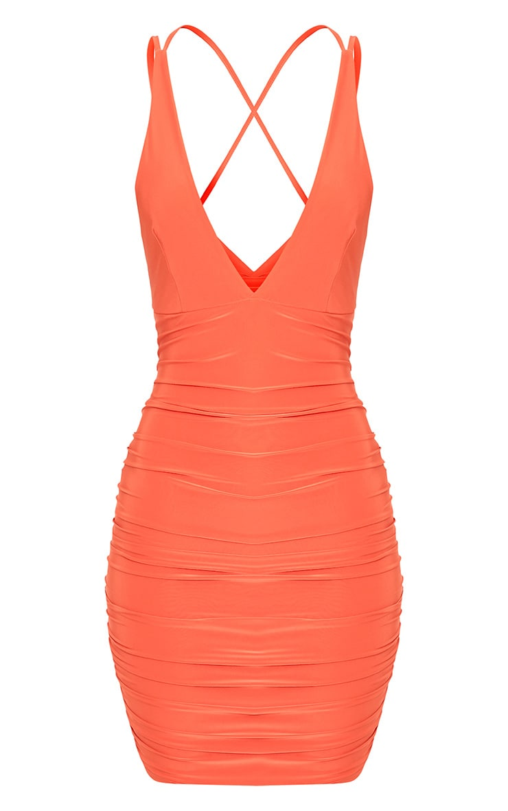 Agness Coral Cross Back Ruched Bodycon Dress 3