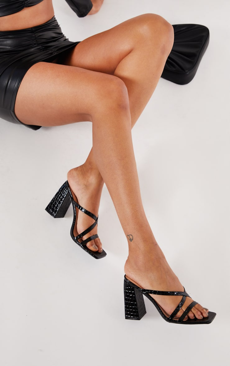 Black Patent PU Snake Flare High Block Heel Strappy Mules 1
