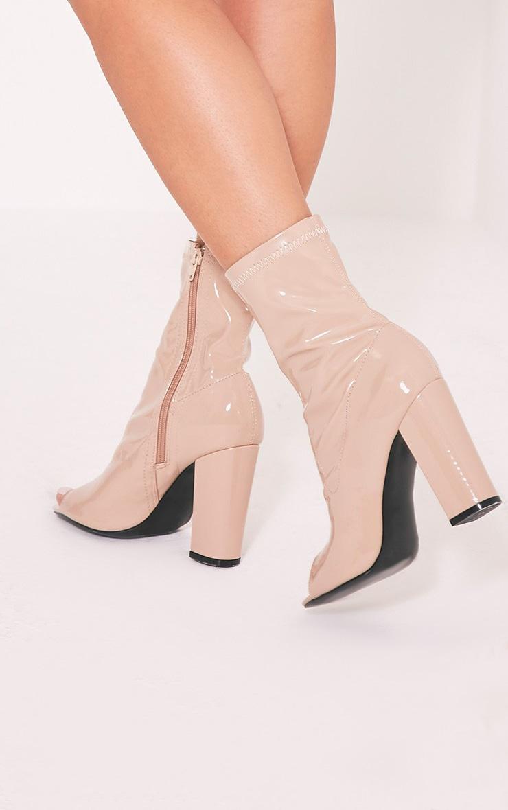 Malina Nude Patent Peep Toe Heeled Ankle Boots 2