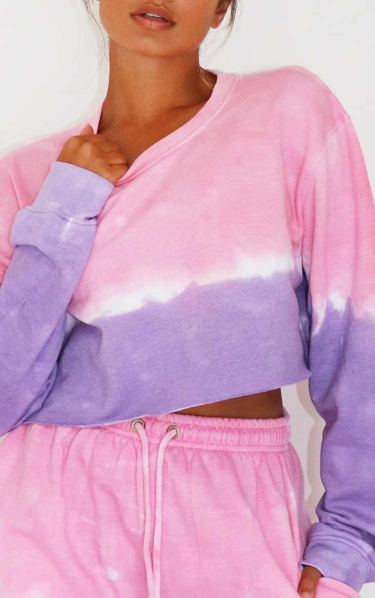Petite Pink/Purple Ombre Cropped Sweater 4
