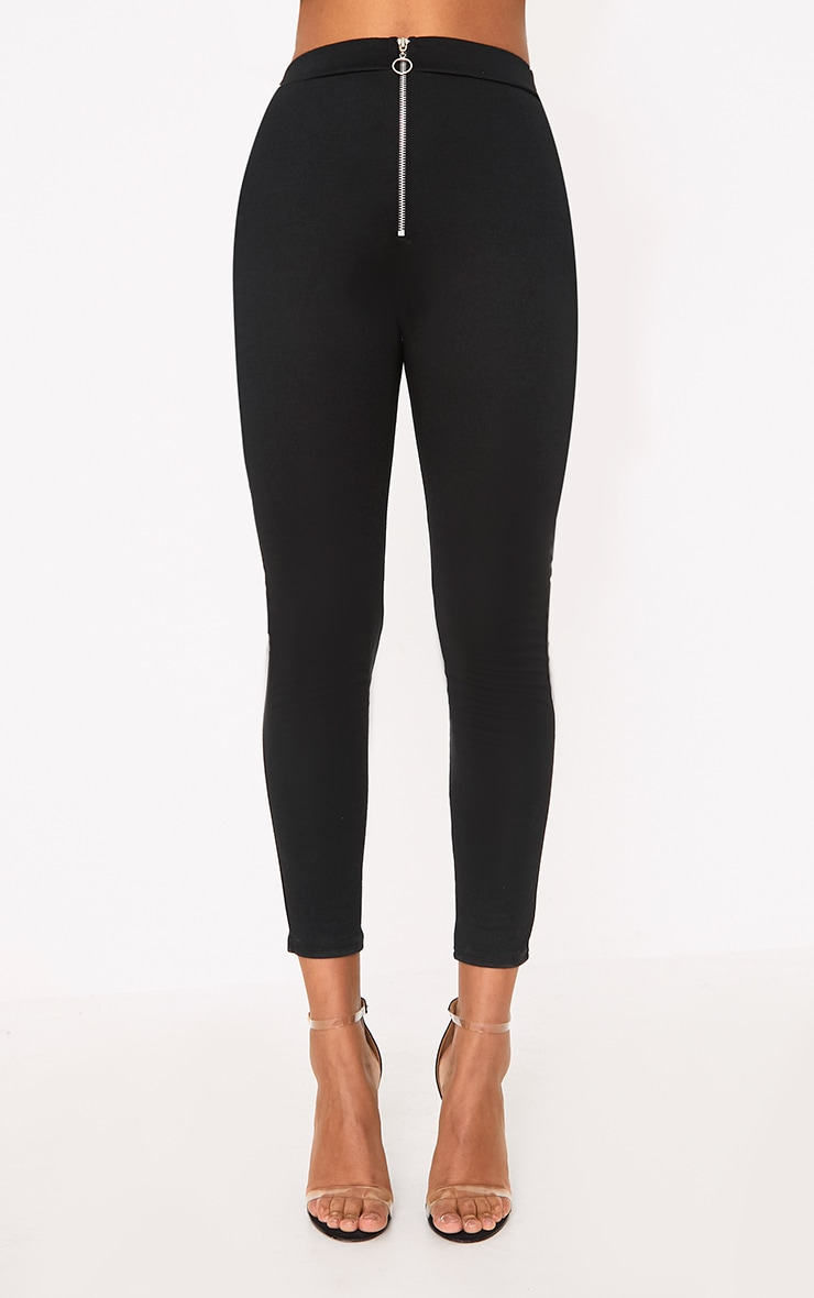 Black Ring Zip Leggings 2