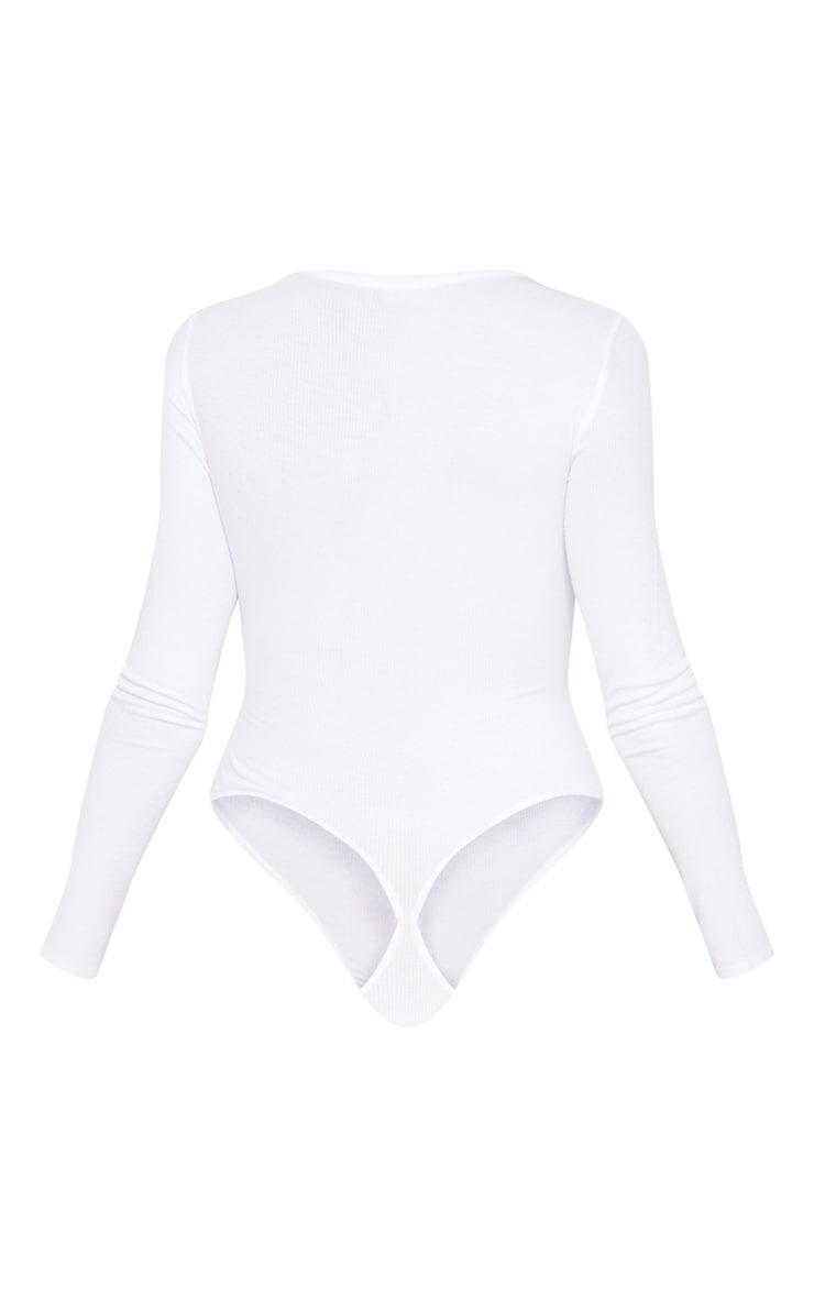 White Long Sleeve Popper Detail Thong Bodysuit 4