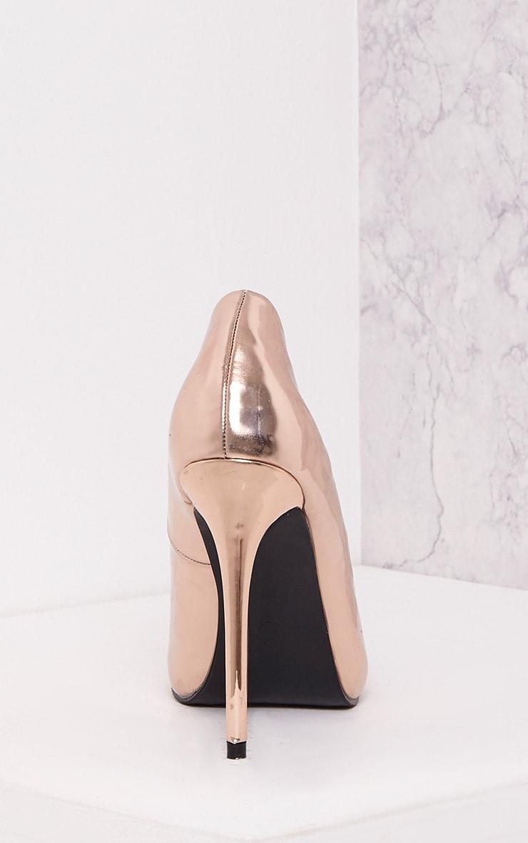 Deena Rose Gold Metallic Patent Court Shoes 4