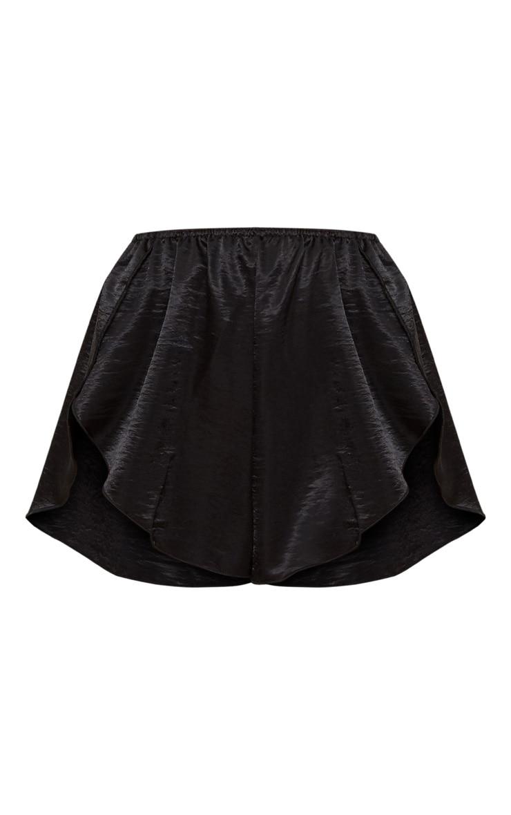 Black Satin Frill Hot Pant 3