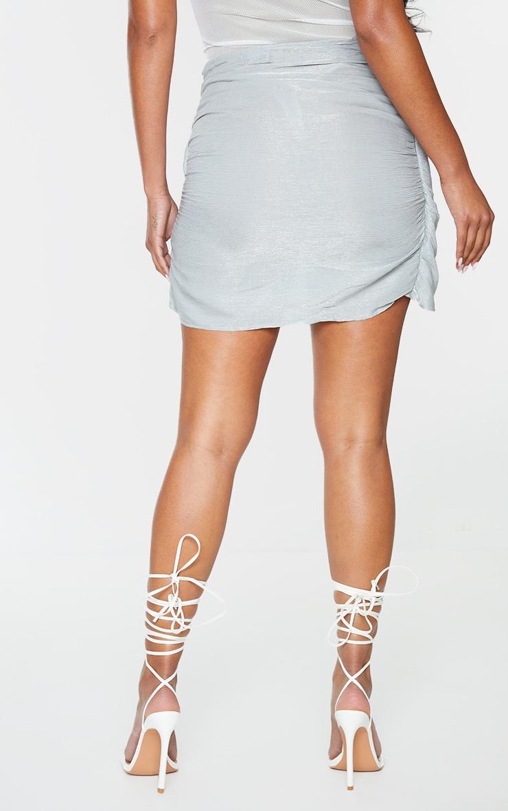 Grey Shimmer Wrap Over Woven Tie Waist Mini Skirt 3