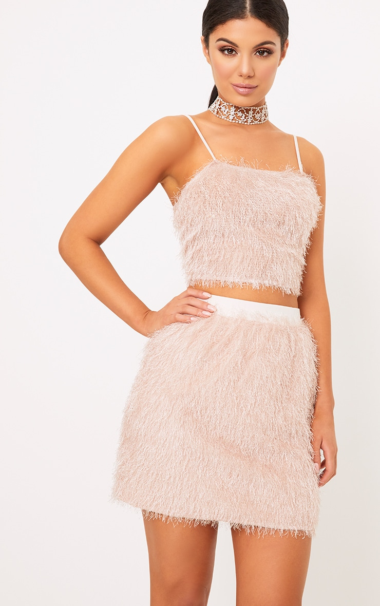 Diala Pink Eyelash Fringe Crop Top  1
