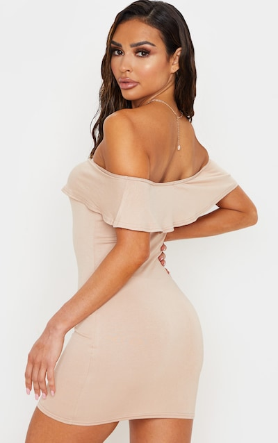 Stone Basic Bardot Frill Detail Bodycon Dress