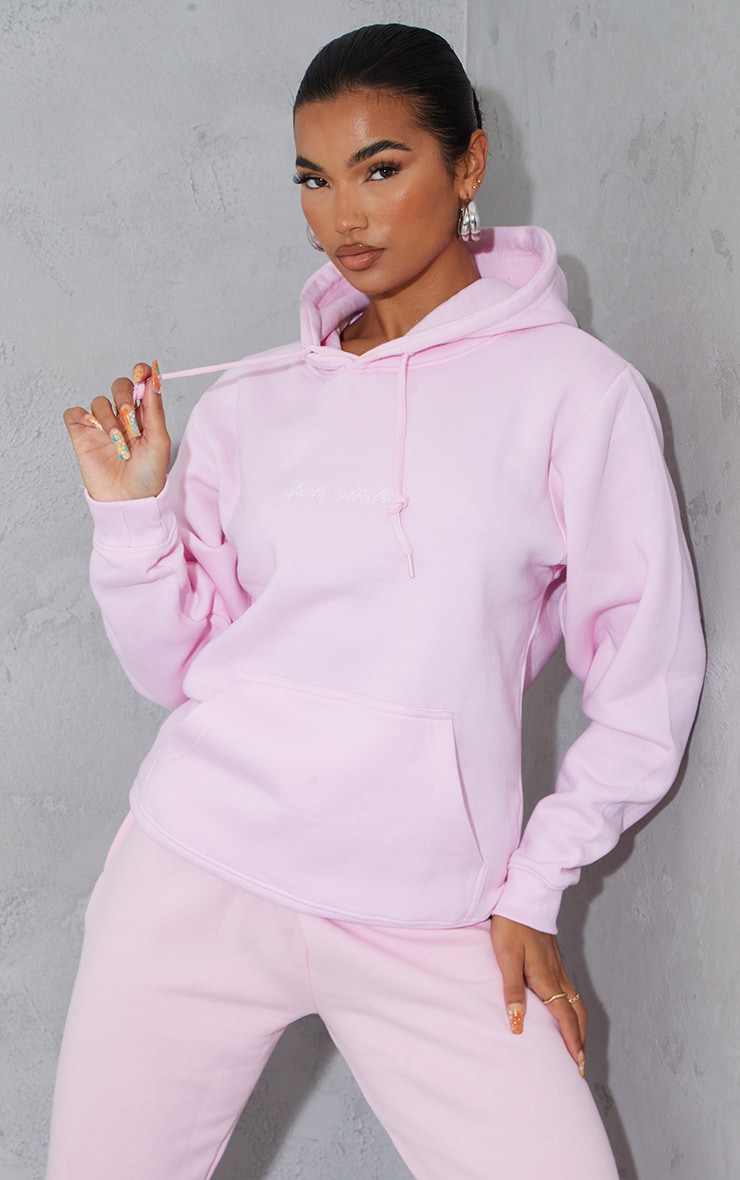 PRETTYLITTLETHING Light Pink Embroidered Oversized Hoodie 1