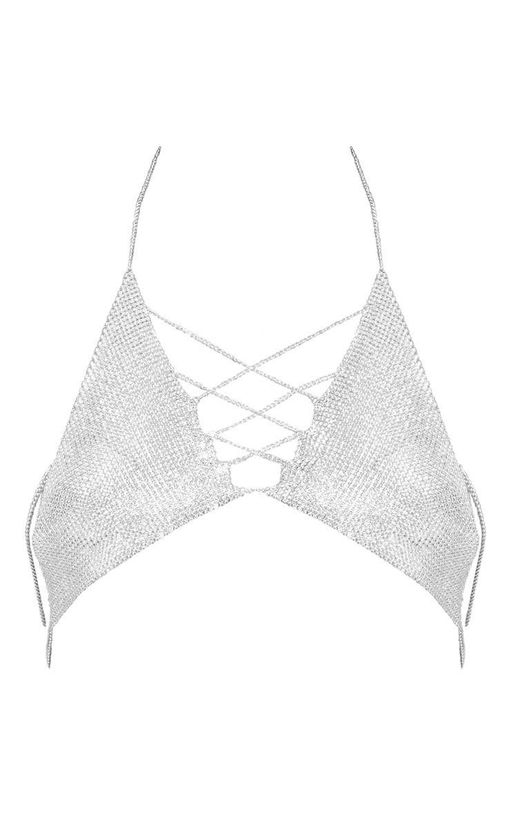 Bralette argentée effet cotte de maille à détail lacets 3