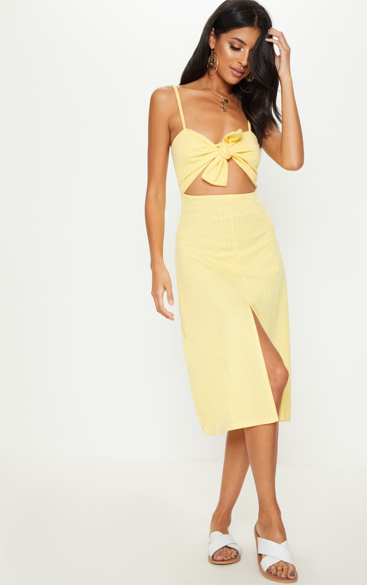 Lemon Pinstripe Tie Front Extreme Split Midi Dress