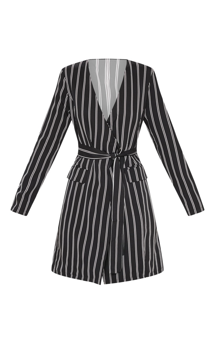 Black Belted Stripe Blazer Dress  3