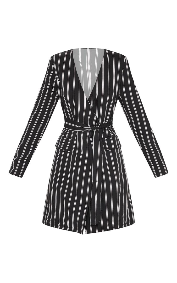 Black Belted Stripe Blazer Dress 3